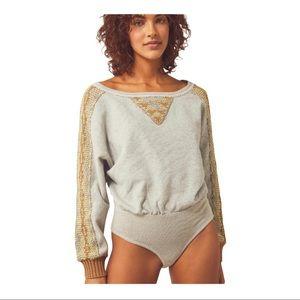 Free People Sweater-Knit Side Eye Knit Bodysuit